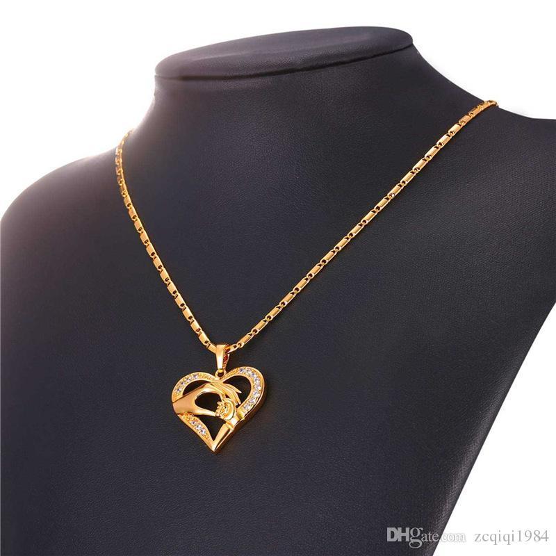 أمي الطفل يدا بيد قلادة قلادة الجوف تصميم الذهب / الفضة / ارتفع الذهب مطلي مجوهرات العشاق هدية مثالية لأمي