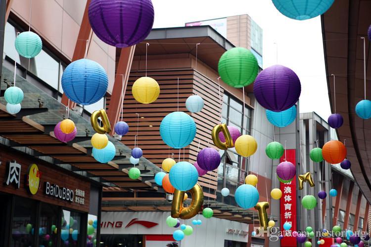 Round Chinese Paper Lantern Birthday Wedding Party decor gift craft DIY lampion white hanging lantern ball party supplies
