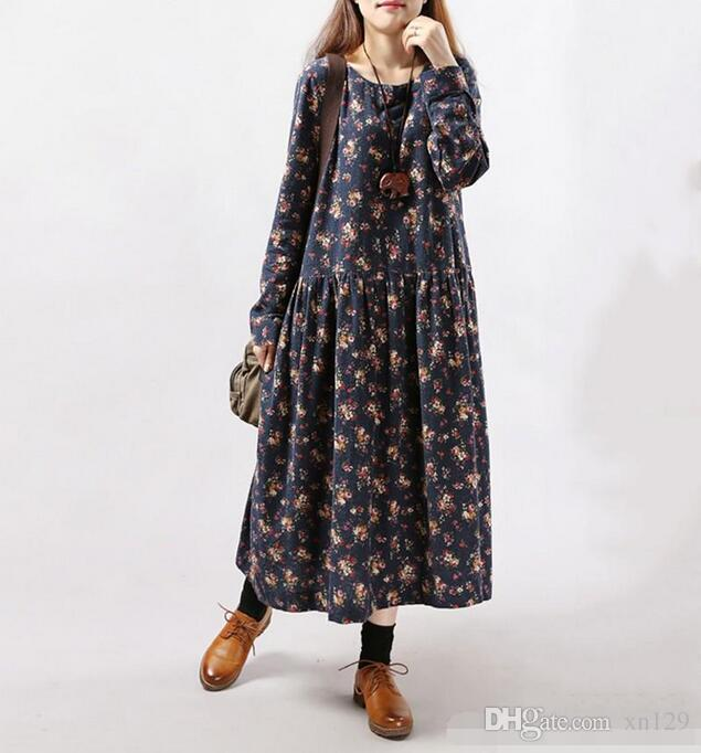 Acquista 2018 New Style Autunno Inverno Donna Abiti Vintage Stampa Casual  Manica Lunga In Cotone Lino Maxi Vestito Swing Floreale Vestito Grande  Formato A ... f629ef6a88a