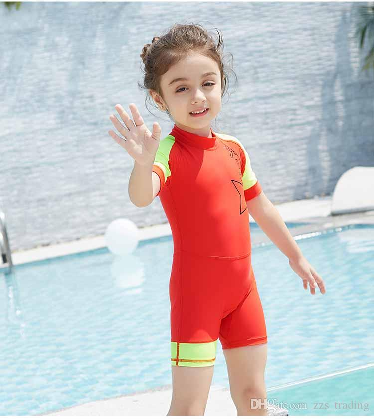 2b033e48d95ea 2019 Children Lycra Diving Wetsuits Boys Girls UV Protection Swimsuit One  Piece Short Sleeves Surfing Rash Guards Diving Suits Hot Products Soft From  ...