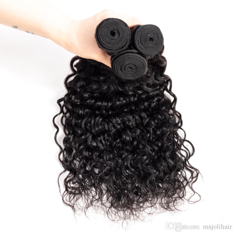 Unverarbeitetes brasilianisches reines Haar-Bündel befasst sich mit Wasser-Wellen-Menschenhaar mit Verschluss Natürliche Wellen-Haar-Bündel mit Spitze-Frontal-Webart-Verschluss