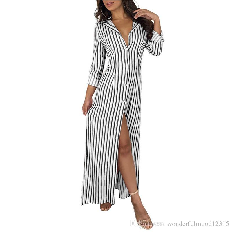 20538f0c620c Vertical Striped Sexy T Shirt Dress Autumn Turn Down Collar Full Sleeve Maxi  Vestidos Casual Front High Split Button Loose Dress Dressing Styles For  Ladies ...