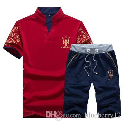 Sommer Herren Trainingsanzug Maserati Gedruckt Männer Stall Kragen V-Ausschnitt Kurzarm Pullover Mit Casual Jogger Hosen Anzüge Homme Sportsuit