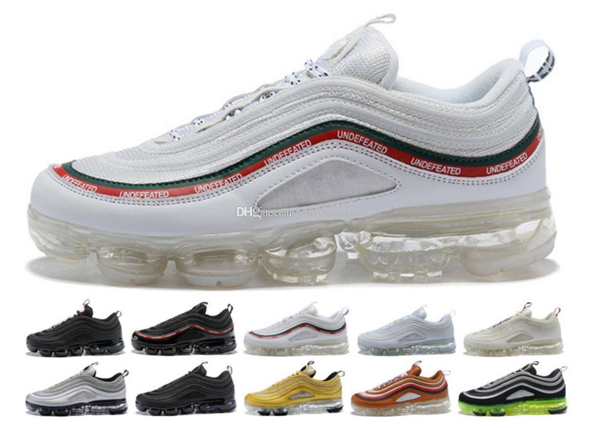 super popular 2718a 1cfc4 Compre Top Quality 2018 Nike Air Max Vapormax 97 Off White Airmax 97 Plus  OG X Bala Running Shoes Preta De Ouro Branco De Prata Dos Homens 97 S Ultra  Sean ...