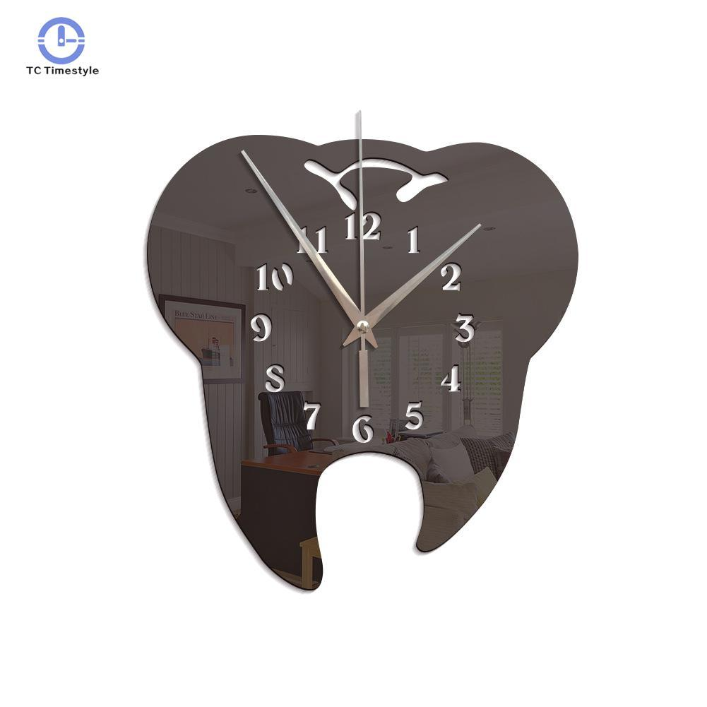 Creative Tooth Shaped Wall Clock Decoration Watches 3d Acrylic