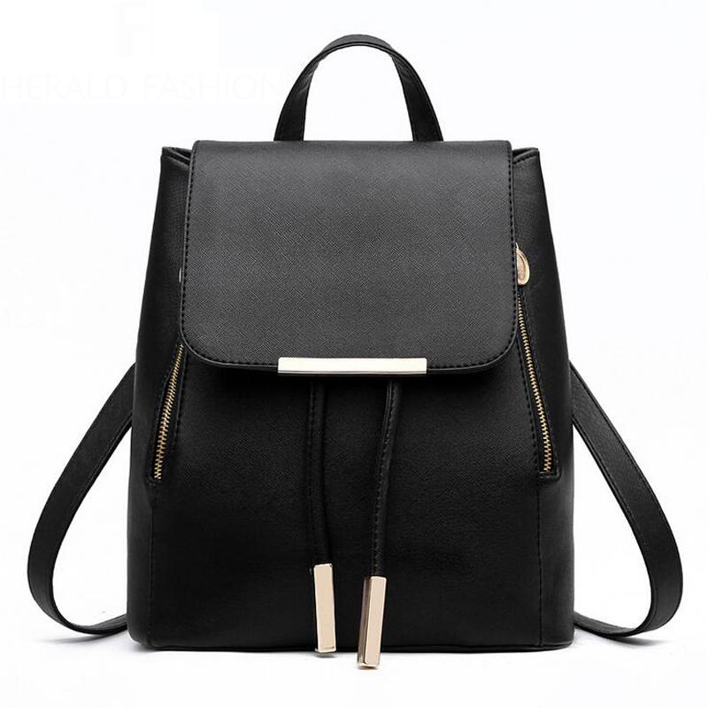 75037534d8 Women Backpack High Quality PU Leather Flip Mochila Escolar School Bags For  Teenagers Girls Top Handle Backpacks Herald Fashion Travel Bags Rucksack  From ...