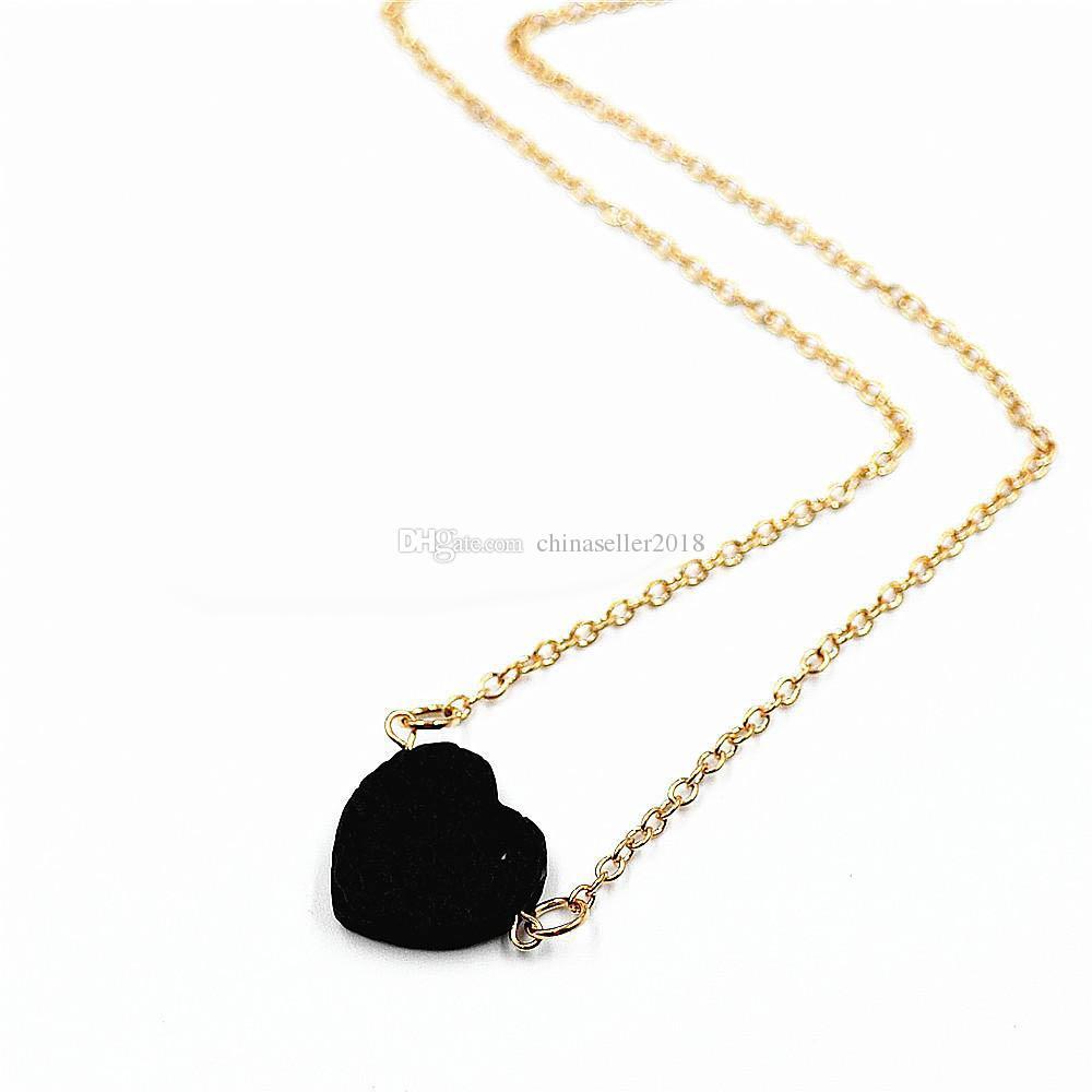 Мода черный Лава камень ожерелье DIY эфирное масло диффузор натуральный камень кулон воротник