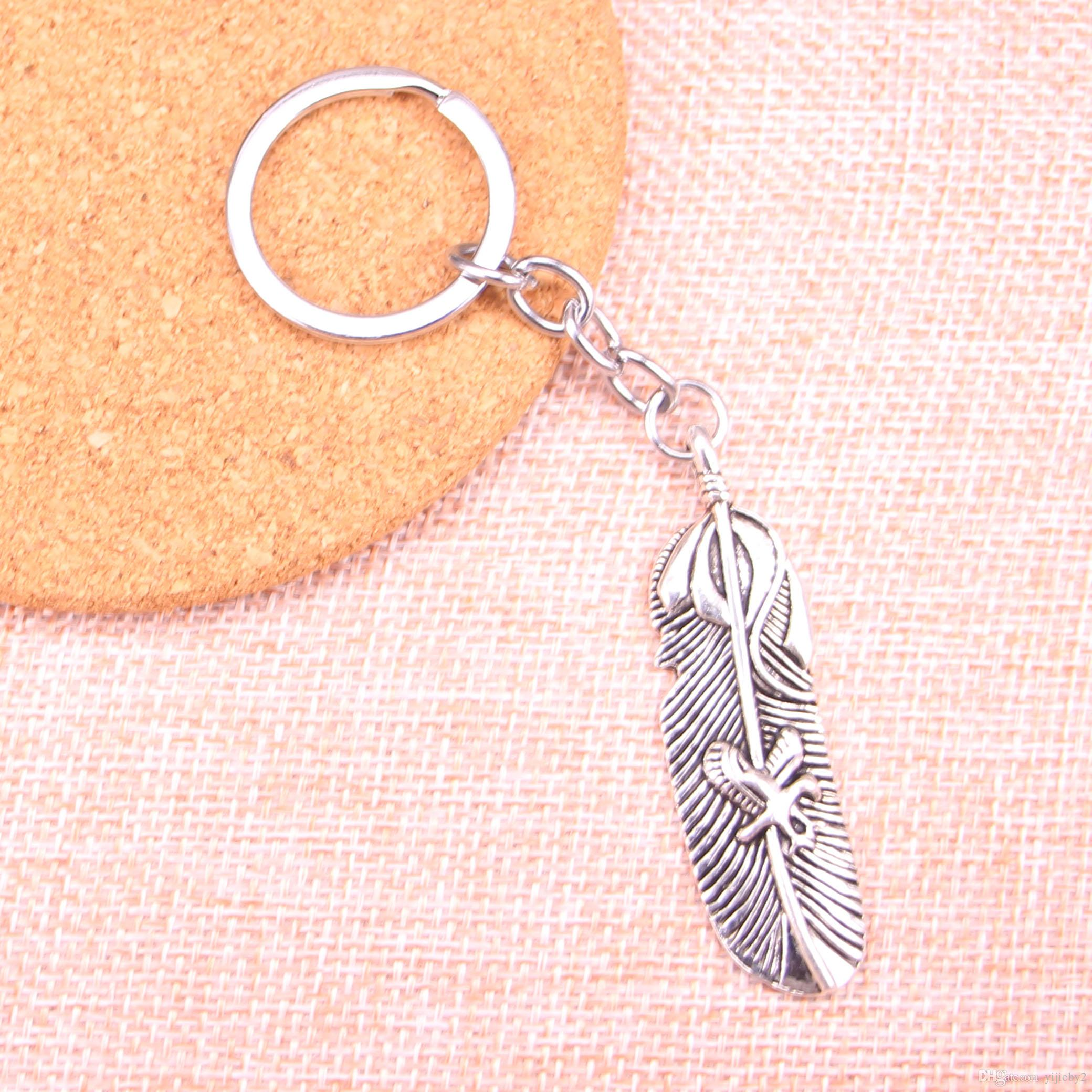 Fashion 28mm Key Ring Metal Key Chain Keychain Jewelry Antique Silver Plated feather eagle 56*15mm Pendant