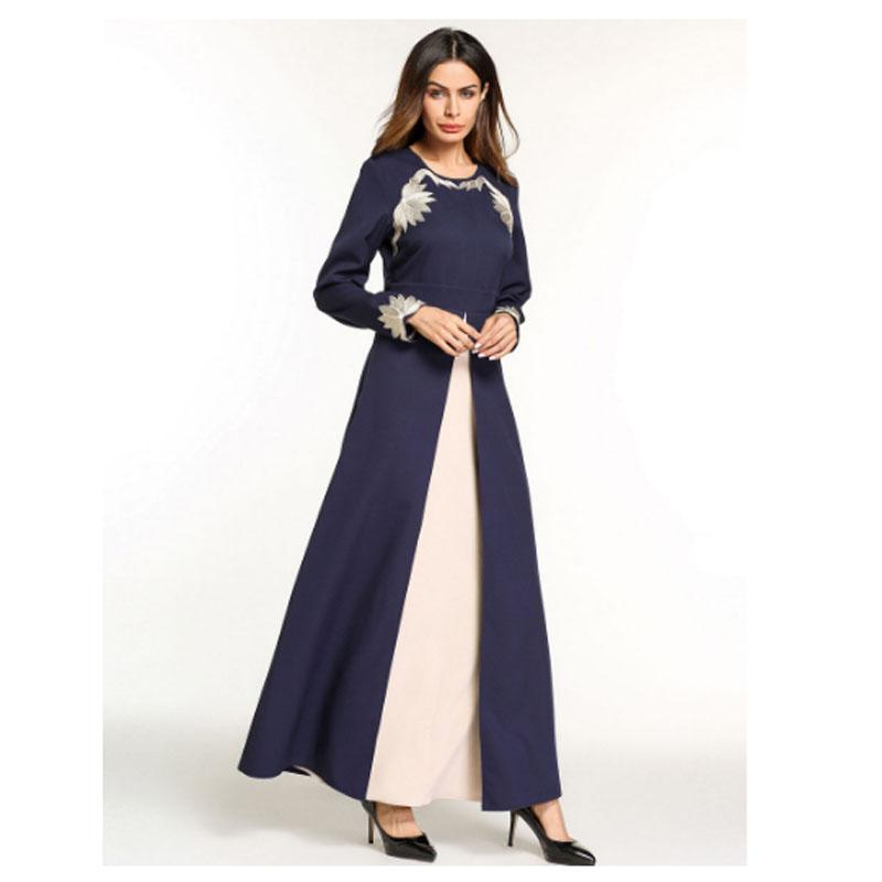 Hui Anarkali Musulmanes Noche Árabes Minoría Oscuro VestidosVestido Musulmán Bordado De Flor Vestidos Dubai Fiesta Azul MUzVpS
