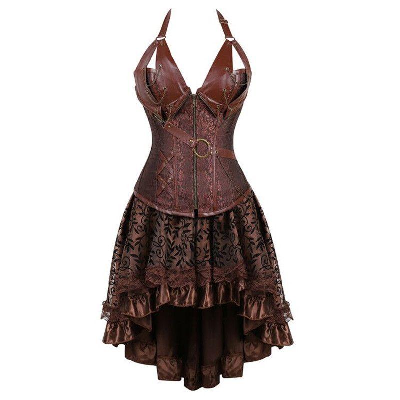 steampunk bustier corset dress plus size black brown zipper black faux  leather corset with skirt gothic punk burlesque pirate