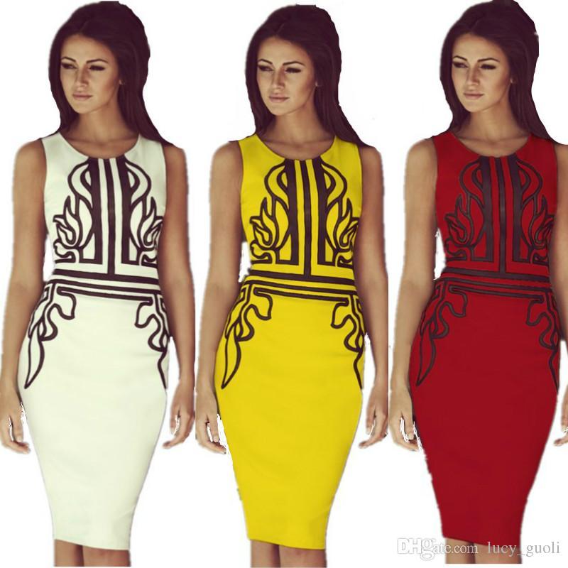 91682f286e0c 2018 Beyonce Ladies Celeb Style Vintage Floral Print Sleeveless Bodycon  Dress Party Tunic Yellow Dresses Casual Office Dress Plus Size S XXL White  Dress ...
