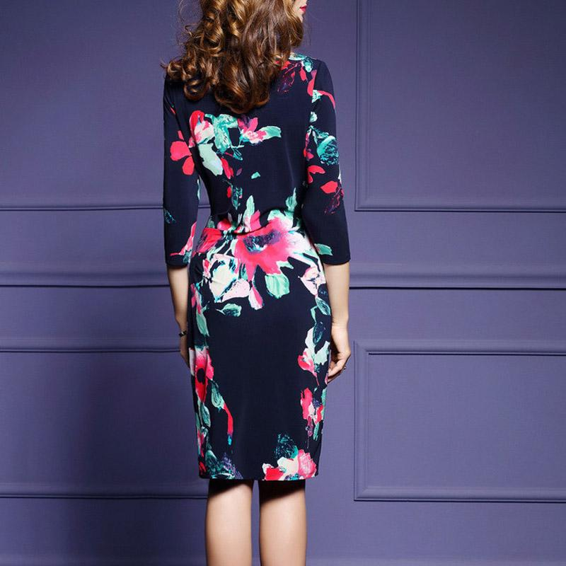 dress female Spring new European and American large size women's waist retro printed round neck seven-point sleeve fold