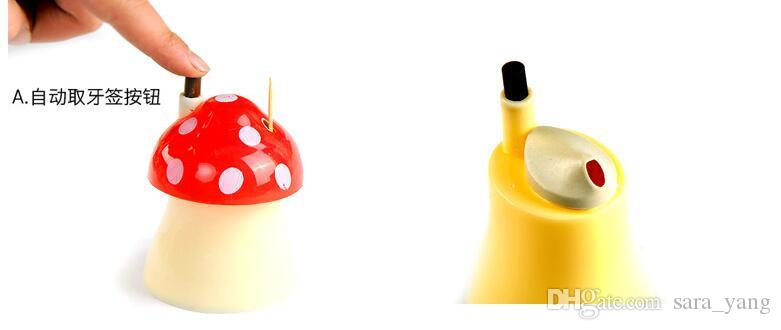Free shipping 100pcs/lot pocket Plastic Mushroom Design Automatic Toothpick Holder dispenser Box with good quality