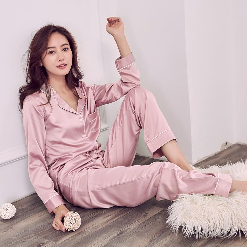 17aaf9ffe1 Sexy Elegant Sweet Satins Silk Pajamas Sets Women Fashion Long ...