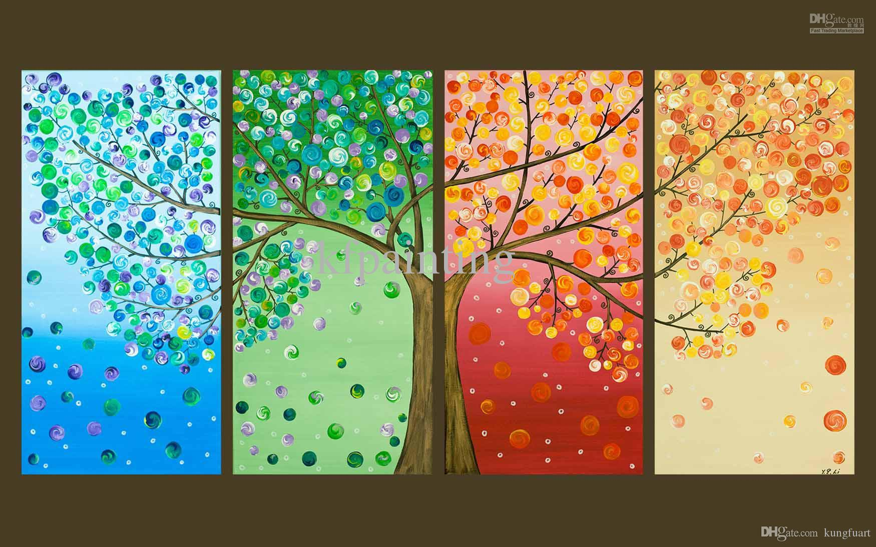 Handmade Painting Hanging On Wall Modern Wood Wall Art 4 Pieces Panel Art Four Season Tree Artwork Living Room Decoration For Home
