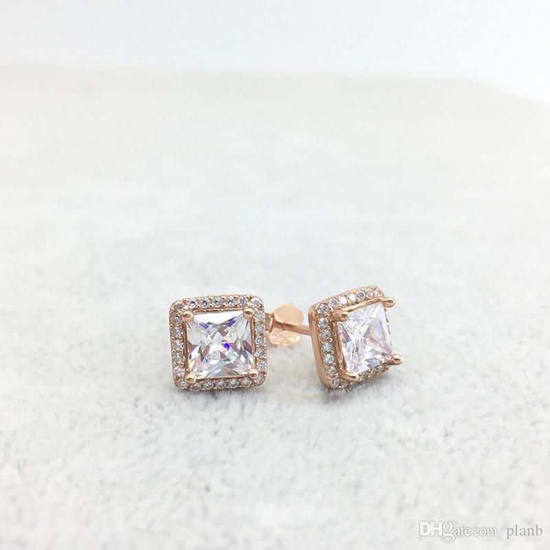 925 스털링 실버 광장 큰 CZ 다이아몬드 귀걸이 판도라 쥬얼리 골드 금 도금 스터드 귀걸이 여성 귀걸이 장미