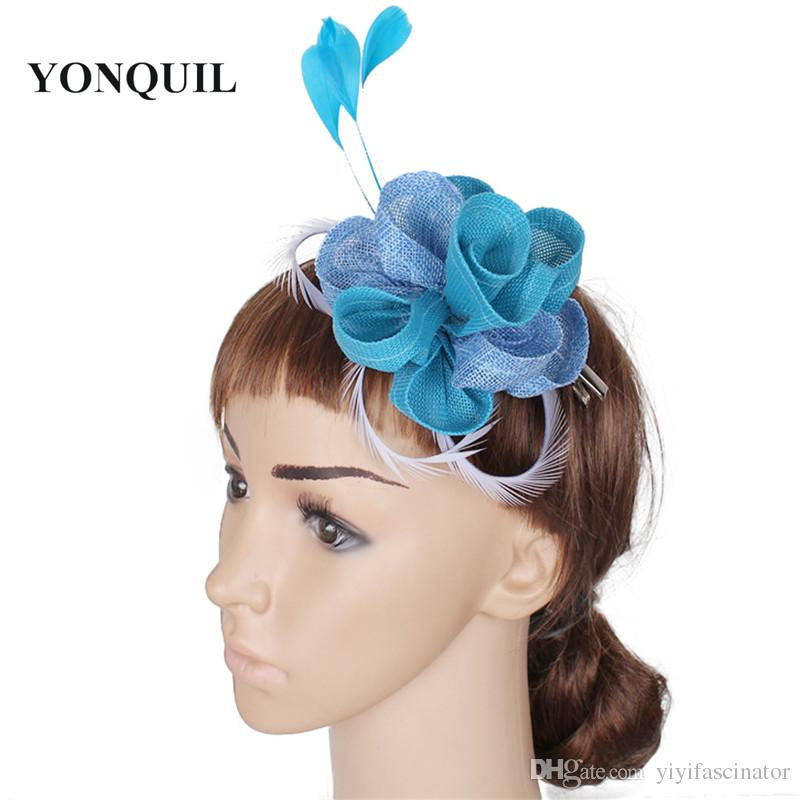 For Select Cute Rose Small Fascinators Hat Wedding Party Headpiece On Hair  Combs With Feather Decor Accessories New Year Gifts SYF50 Vintage Hats And  ... fd9d918f8bc