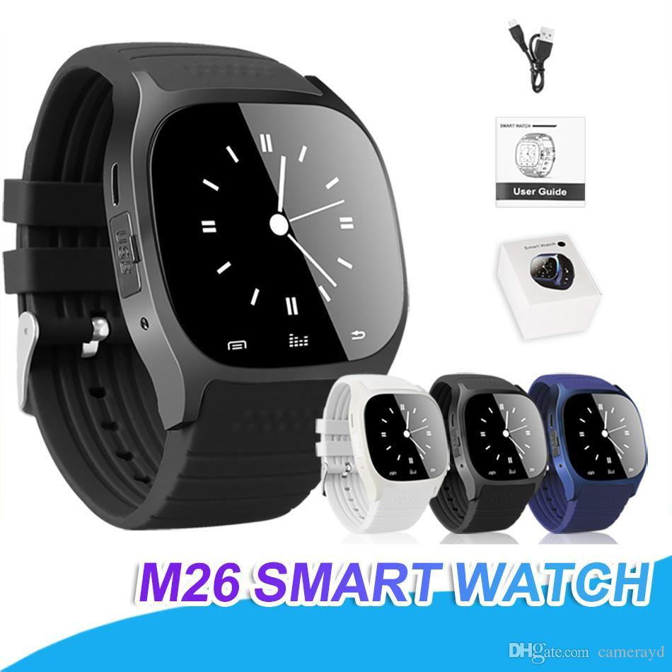 9b9c786d72e Waterproof Smartwatches M26 Bluetooth Smart Watch With LED Alitmeter Music  Player Pedometer For Apple IOS Android Smart Phone Kids Smart Watch Phone  Men ...