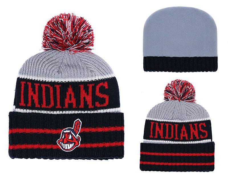 afb720ffa0a 2018 New Sport Indians Baseball Skullies Hat Pom Cuffed Knitted Hats ...