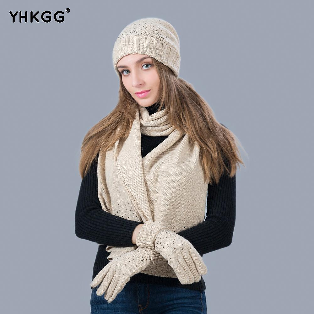 1004c5f9ec2 2019 Women Winter Hat Scarf Set Fashion Cashmere High Quality Classic  Knitted Three Sets Warm Wool Rhinestone Hat Scarf Glove Suit From Kwind