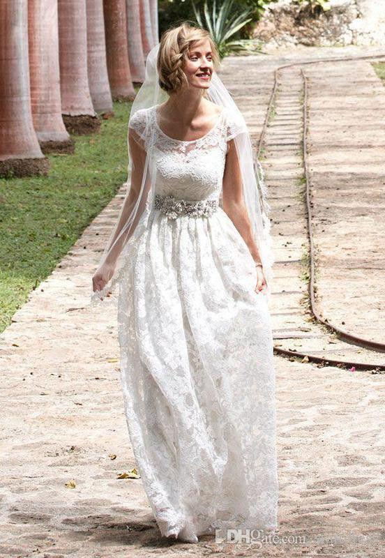 Modet White Full Lace Cheap Country Wedding Dresses Scoop Floor Length Beaded belt Cap sleeve Bridal Gown Simple Beach robe de mariée 2018