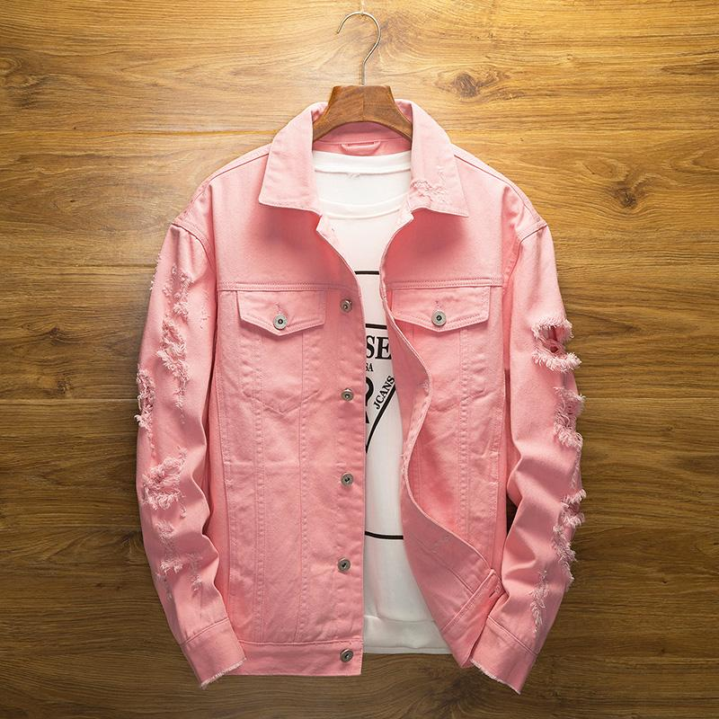 Men Pink Denim Jackets Outerwear Jean Coats New Spring Autumn Men