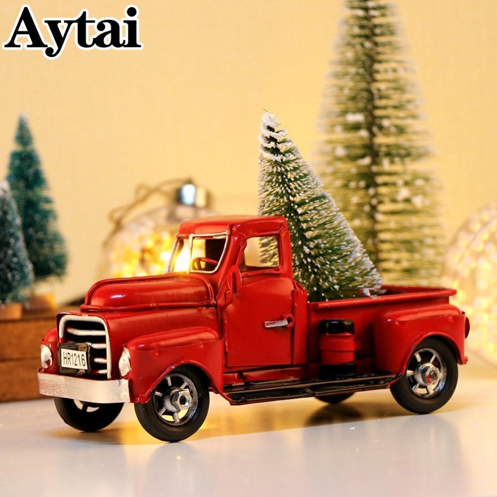 Aytai Cute Little Metal Christmas Red Truck Vintage Red Truck