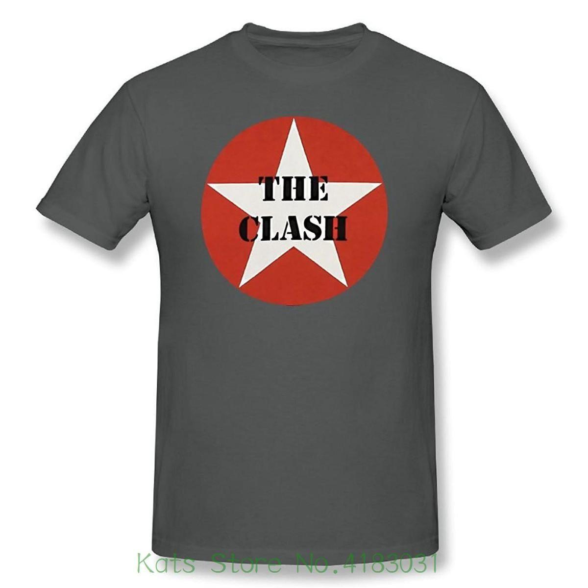 73c435bde48 The Clash Stencil Star Logo Combat Rock Adult T Shirt Casual Man Tees Mens  Tops T Shirt Sale Cool Shirt Designs From Zhangjingxin09