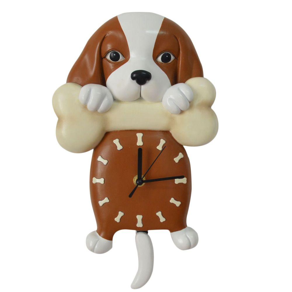 Cartoon Wall Pendulum Clock Cute Puppy Dog Design Wall Clock
