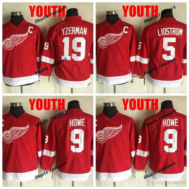 2019 Youth Detroit Red Wings 5 Nicklas Lidstrom 9 Gordie Howe 19 Steve  Yzerman Hockey Jerseys Kids Red Boys Stitched Red Jersey From Redsport 3e411acdf