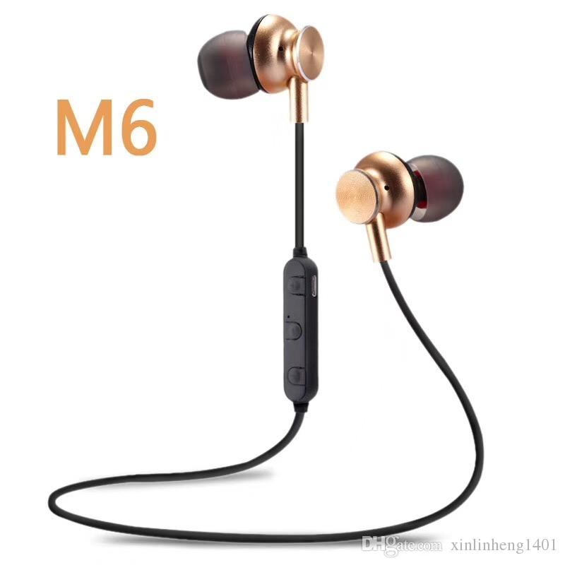 Boa Qualidade M6 Bluetooth V4.2 Fones de Ouvido Sem Fio Bluetooth Fone de Ouvido Com Cancelamento de Ruído com Microfone para Chamar o Iphone 8 S8 Livre DHL grátis