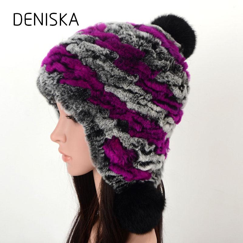 351a87069cfb3 2019 Women Genuine Knitted Rex Rabbit Fur Hats Russian Hat Natural Stripe Rex  Rabbit Fur Caps Winter Warm Head Wear From Henrye