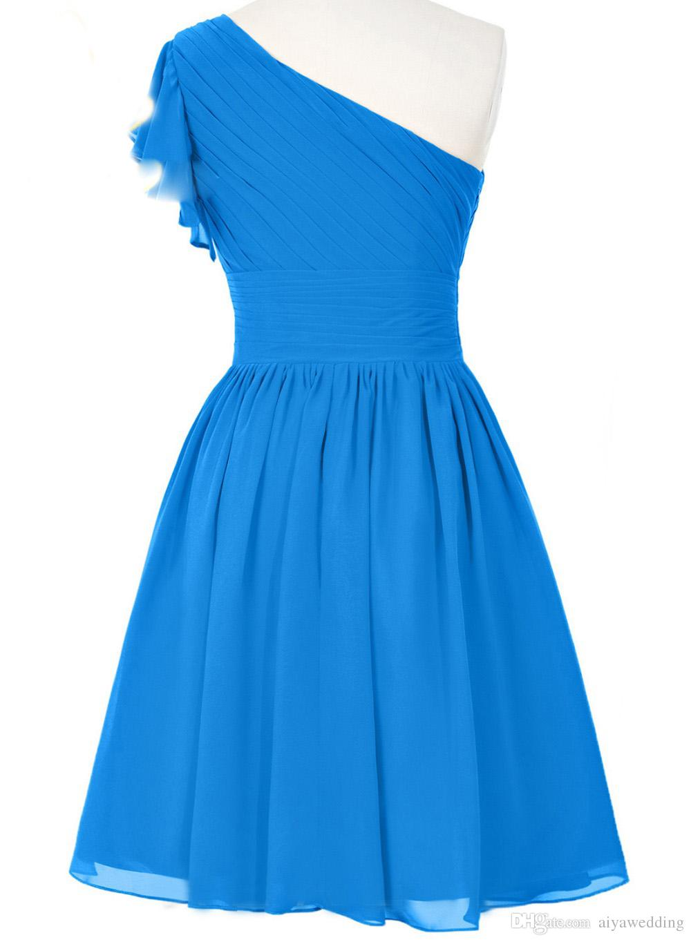 Cheap Sexy Blue Short Chiffon Homecoming Dresses 2019 Beaded Prom Party Gowns Vestido Robe Soiree For Women Summer Wear