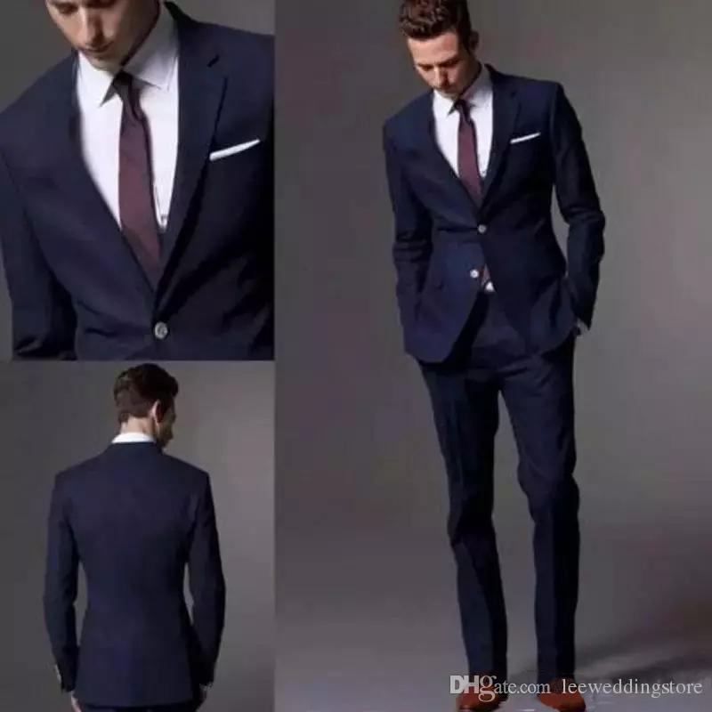 a63737fda Men Suits Blazer 2018 Custom Made Dark Navy Blue Groom Suit Business ...