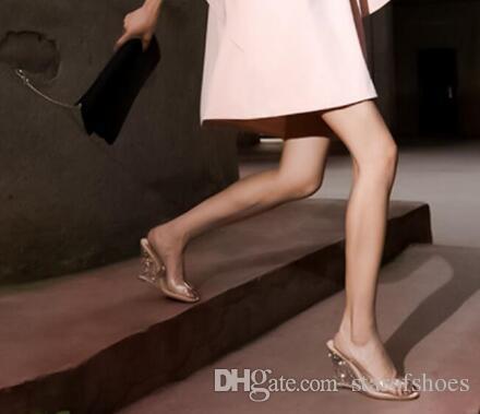2018 donne sandali con zeppa in pvc sandali con tacco trasparente scarpe da sposa cristalline tacchi alti pompe peep toe