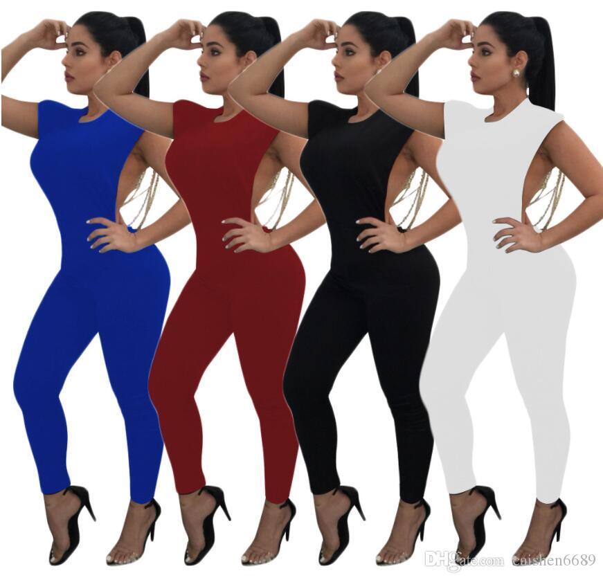 Yeni Moda Tulum Kadınlar 2018 Seksi Backless Inci Boncuk Dekorasyon Tulum Kadın Bodysuits O-Boyun Kolsuz Tayt Kulübü Parti Tulum