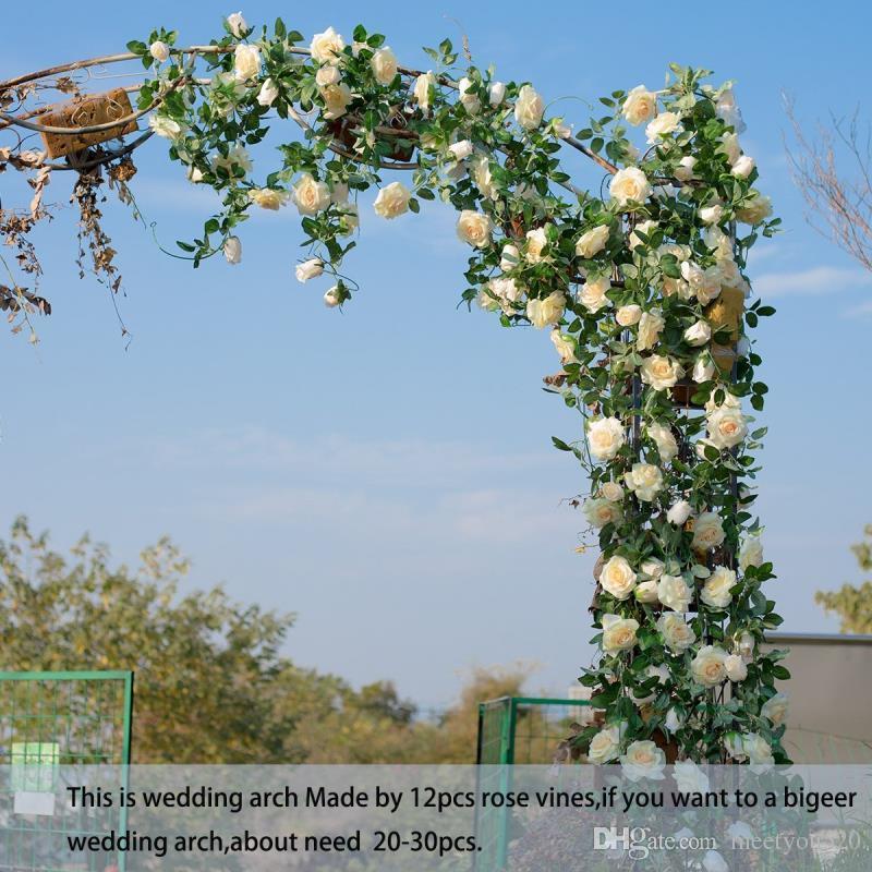 6.5Ft Artificial Rose Vine Silk Flower Garland Hanging Baskets Plants Home Outdoor Wedding Arch Garden Wall Decor,Pack of 2 Champagne