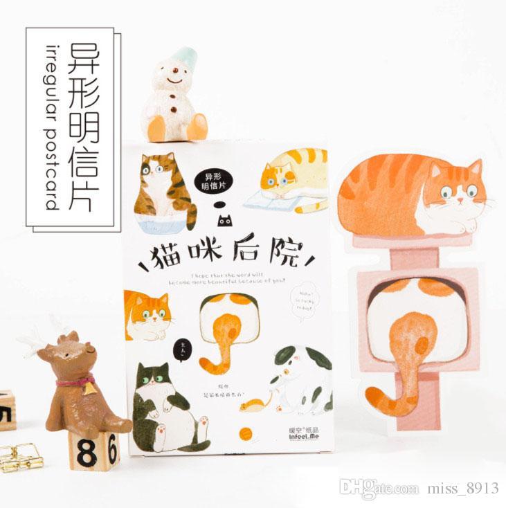 Pack Kawaii The Backyard Of Cat Greeting Card Postcard Birthday Gift