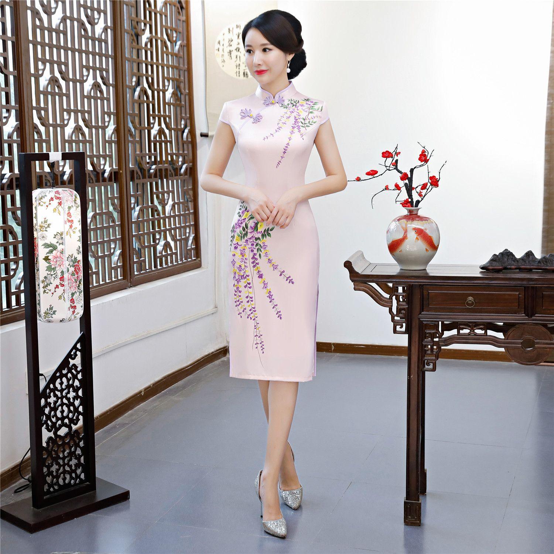 7e090024b1fa Shanghai Story Chinese Style Dress Knee Length Cheongsam Qipao Chinese  Oriental Dress Short Sleeve Traditional Chinese CLothing For Women Girls  Chinese ...