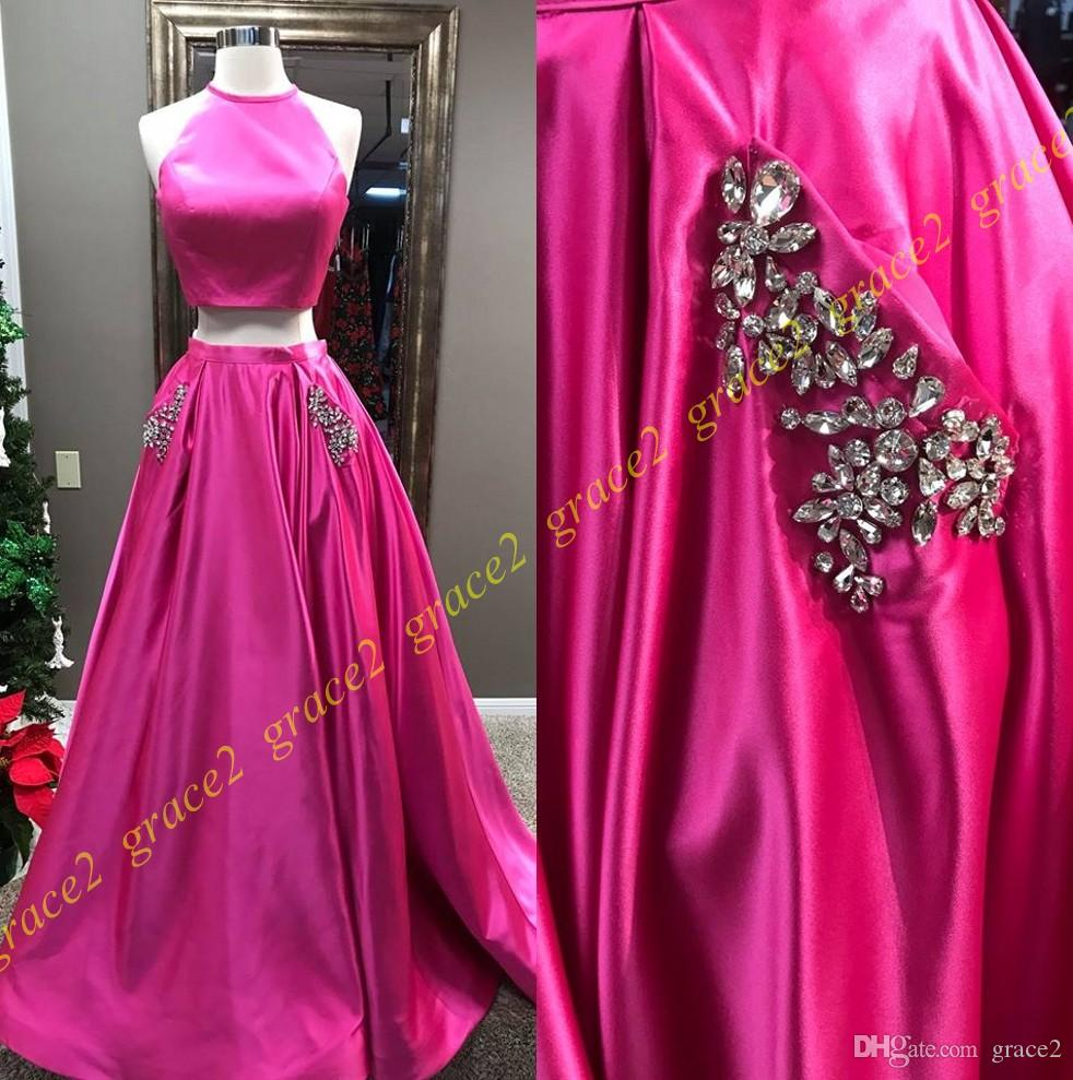 Fuchsia Prom Dresses 2k18 With Halter Neck And Beaded Crystals