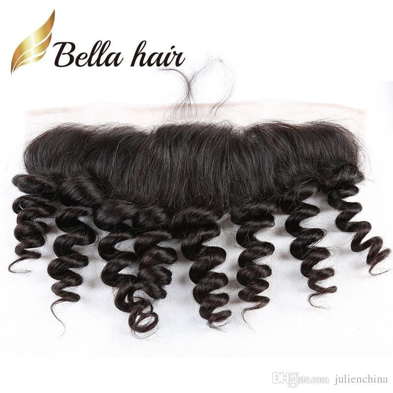 Bella Hair® 13x4 الأذن إلى الأذن فضفاض موجة الماليزية الدانتيل أمامي اختتام الشعر قطعة 8a اللون الطبيعي الشعر البشري شحن مجاني
