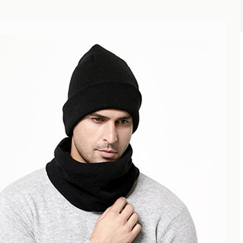 377311965de 2019 Set Knitted Warm Hat And Scarf For Men 2018 Winter Caps Beanies Mens  Scarves Neck Warmer Face Shield Mask For Gifts O3 From Weichengz