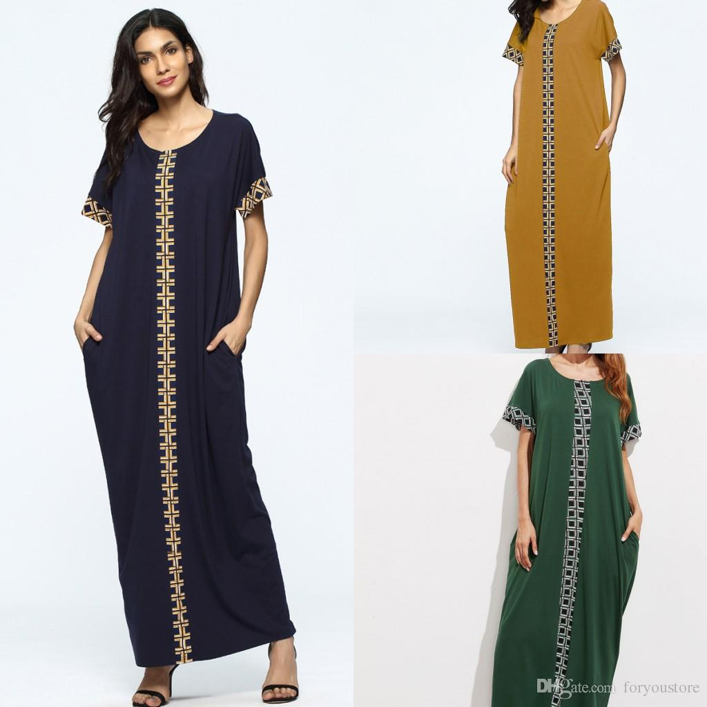 1c5212c9d2f65 Wholesales Dubai Dresses 2018 Middle Eastern Summer Dress Stitching Dress  Loose Dress Long Islamic Dresses Abaya Special Occasion Dresses In Stock  Special ...