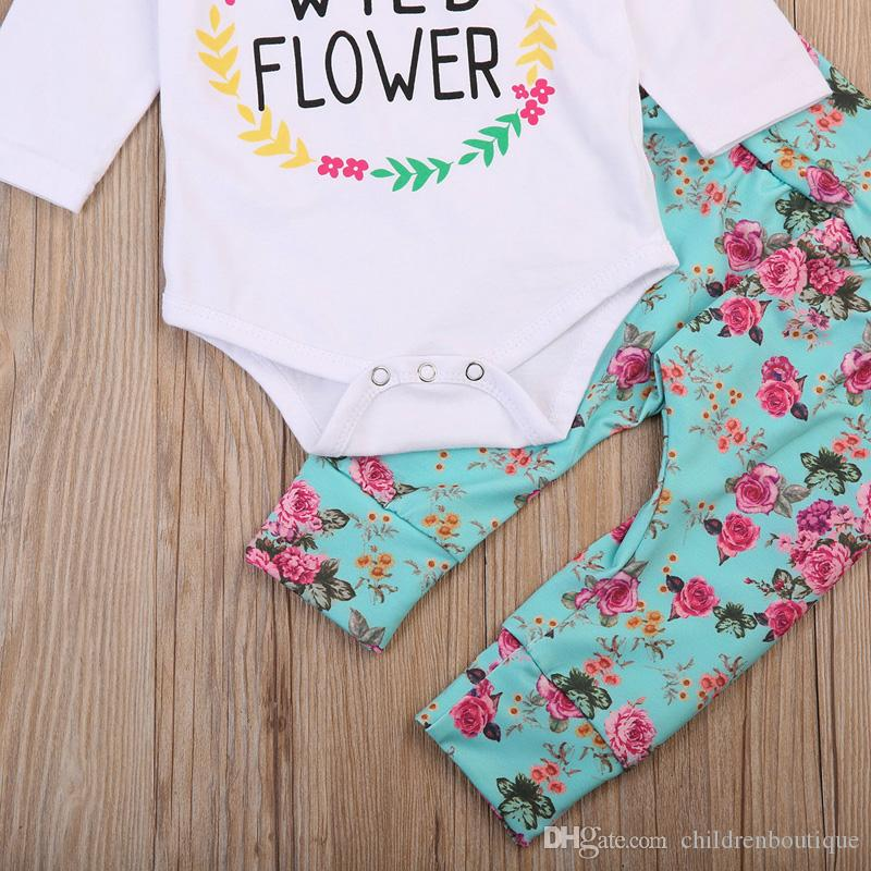 Yenidoğan Bebek Kız Giyim Çiçek Vahşi Çiçek Mektup Uzun Kollu Tops Romper + Tayt Pantolon + Kafa 3 adet Kıyafetler Bebek Kız Giysileri Set