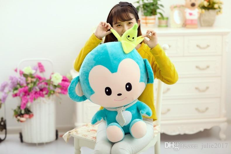 lovely stuffed blue smile monkey toy plush banana monkey toy gift soft and warm pillow Christmas gifts