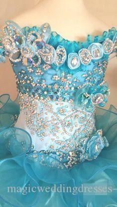2018 Cupcake Pageant Dresses for Little Girls Baby Beaded Organza Cute Kids Short Prom Gowns Infant Light Blue Crystal Birthday Party Skirt