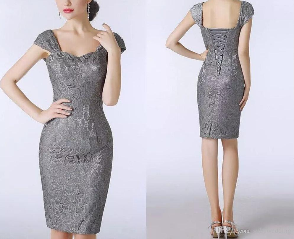 412a44b8978 2018 Elegant Plus Size Lace Mother Of The Bride Dresses Grey Sheath Women Formal  Dresses Party Evening Gowns Knee Length Custom Made Dresses For Mother Of  ...