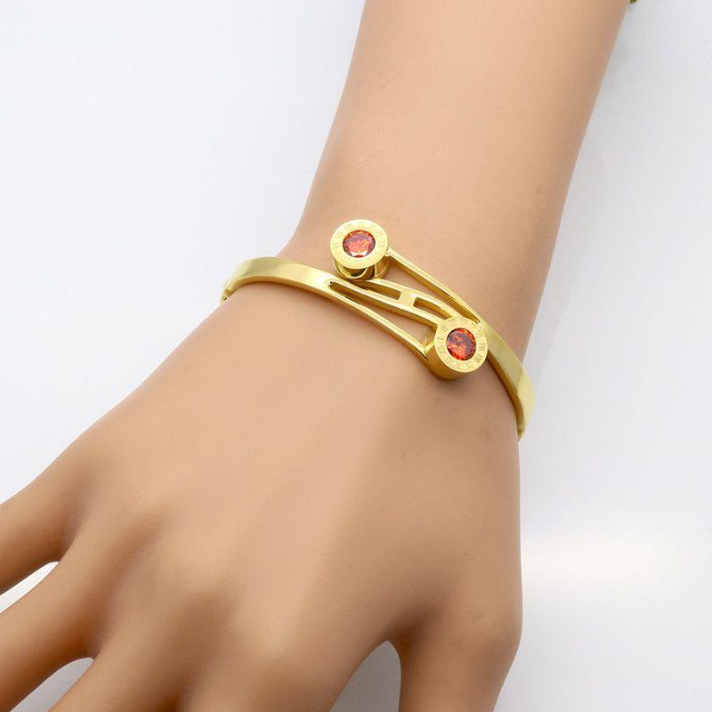 Römische Ziffern Armreif Gold Farbe Frauen Kristall Hochzeit Armband Austauschbar CZ Imitation Armbänder Armreifen