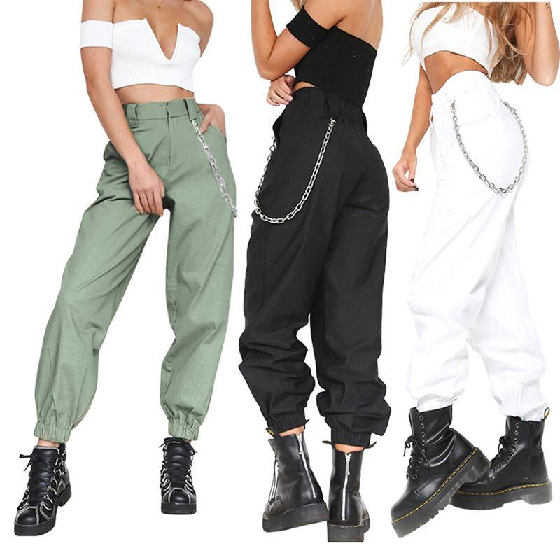 Compre 2018 Verano Mujer Cintura Alta Pantalones Harem Moda De Mujer Color  Sólido Sólido Pantalones Largos Hip Hop Pantalón Streetwear Con Cadenas A   28.93 ... 028e221bd17b