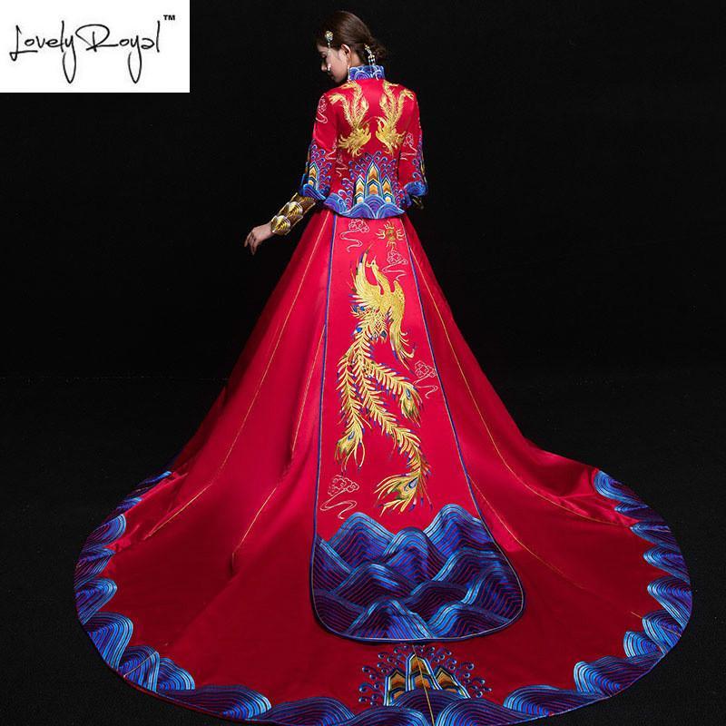 4fc3a30c5f63 Acquista Abbigliamento Tradizionale Cinese Dragon Phoenix Abito Da Sposa  Abito Da Sposa Cheongsam Abito Da Sposa Cinese Abbigliamento Da Festa Donna  A ...